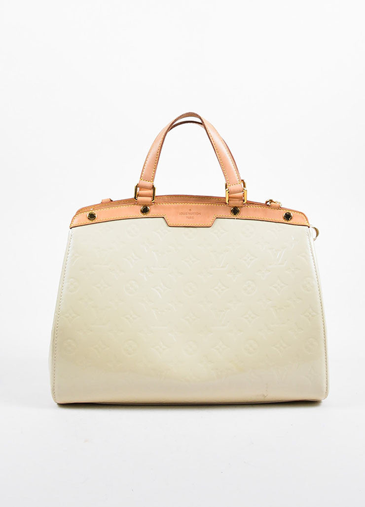 "Beige and Tan Louis Vuitton Vernis Patent Leather Embossed Monogram ""Brea GM"" Bag Frontview"