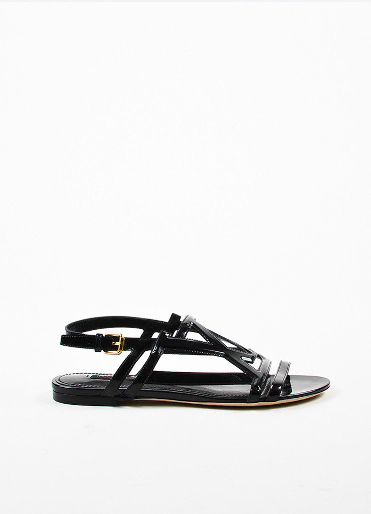 Louis Vuitton Black Patent Leather 'LV' Strappy Slingback Flat Sandals Sideview
