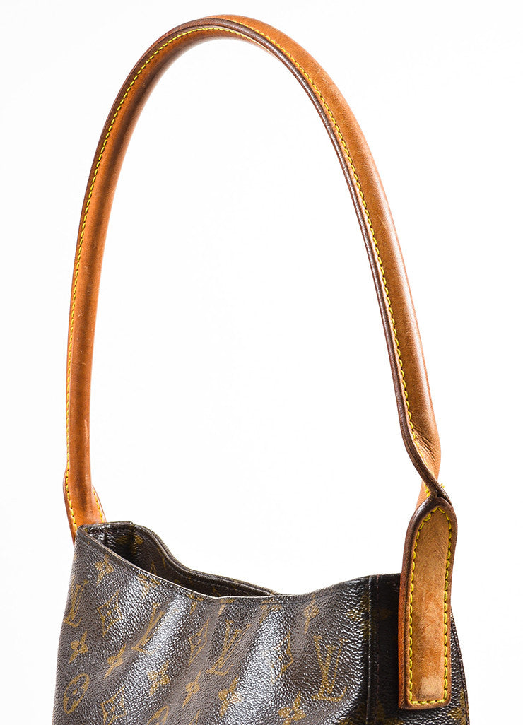 "Louis Vuitton Brown and Tan Coated Canvas Leather Monogrammed ""Looping GM"" Tote Bag Detail 2"