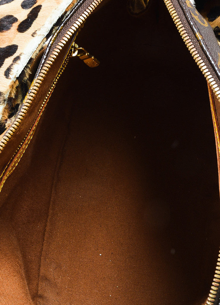 "¥éËLouis Vuitton x Azzedine Alaia Brown Coated Canvas Leopard Pony Hair ""Alma"" Bag Interior"