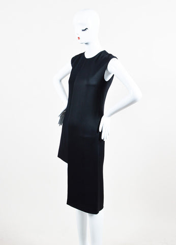 Maison Martin Margiela Black Mixed Media Asymmetric Sleeveless Scoop Neck Dress Sideview