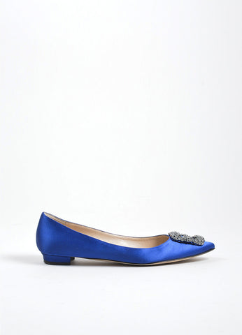 "Blue Manolo Blahnik Satin ""Hangisi"" Point Toe Rhinestone Buckle Flats Sideview"