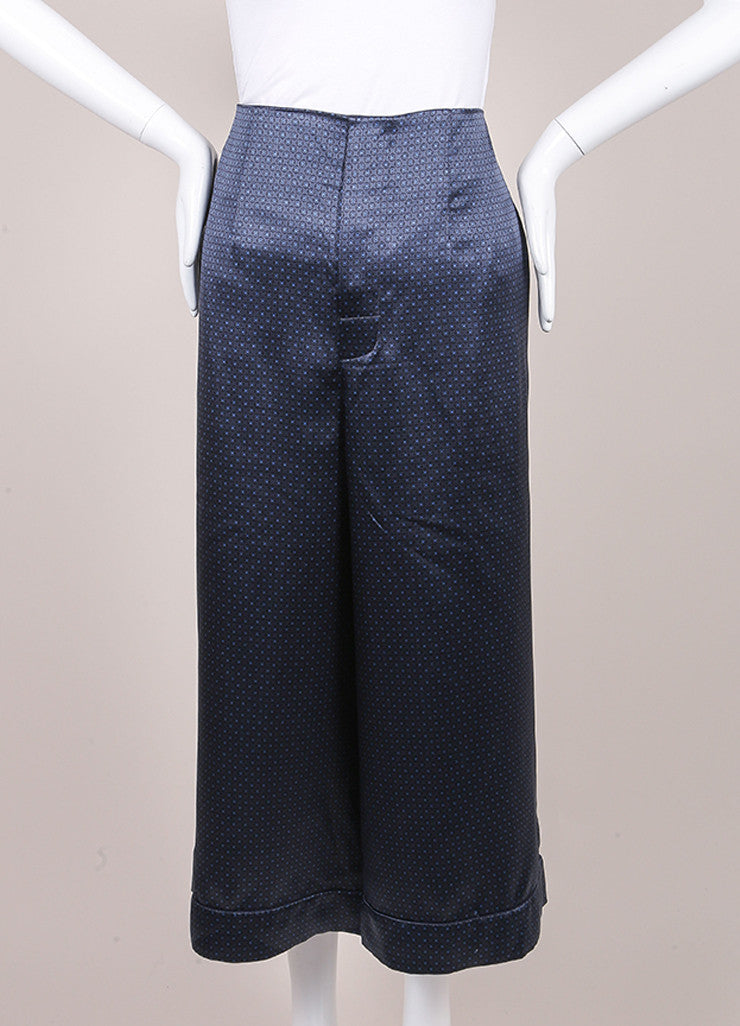 Marc Jacobs New With Tags Navy Blue Silk Printed Crop Gaucho Culotte Pants Frontview