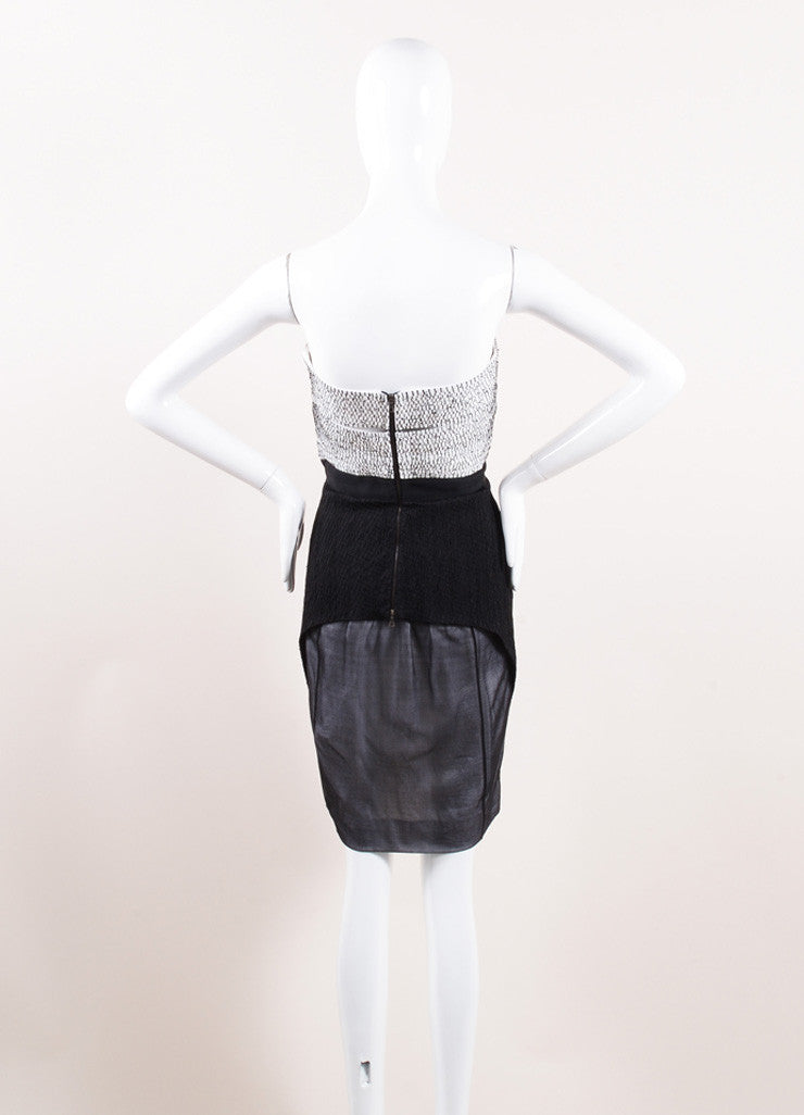 Narciso Rodriguez Black and White Silk Strapless Dress Backview