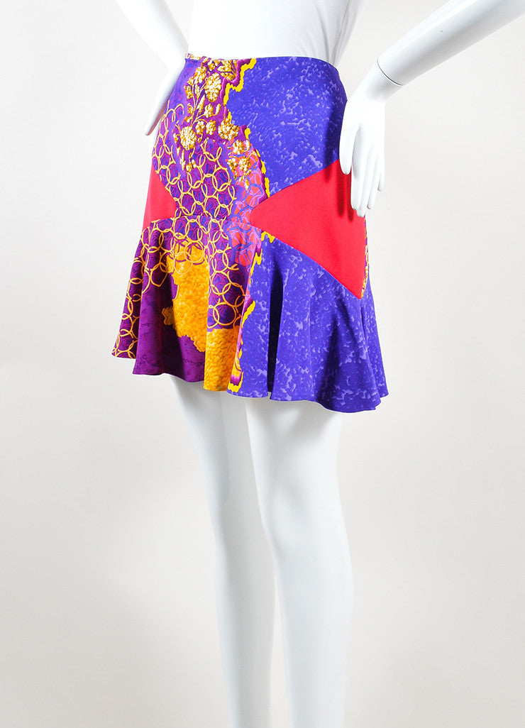 Peter Pilotto Multicolor Psychedelic Print Flare Mini Skirt Sideview