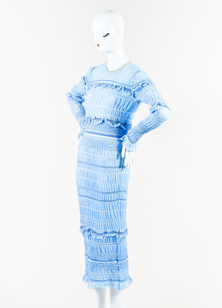 "Peter Pilotto Blue and White Ruffled Long Sleeve ""Atmos"" Maxi Dress Sideview"