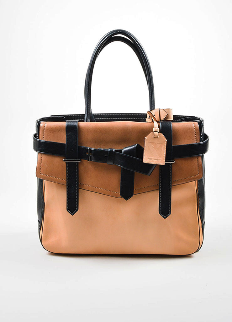 Black, Beige, and Tan Reed Krakoff Leather Boxer Bag Frontview