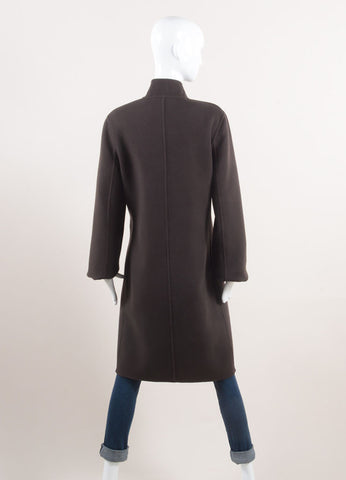 Rene Lezard New With Tags Brown Wool and Cashmere Blend Double Faced Coat Backview