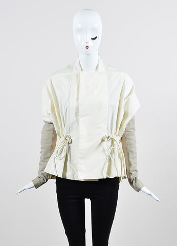 Cream and Taupe Rick Owens Mixed Media Leather Detail Lightweight Jacket Frontview 2