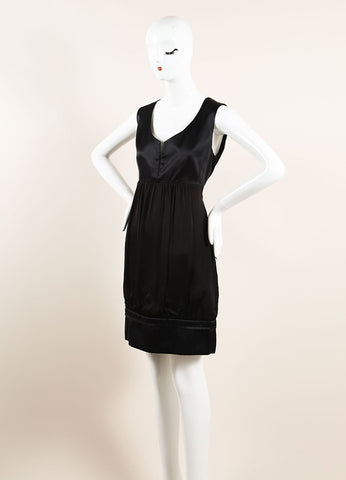 Stella McCartney Black Silk Empire Waist Gathered Sleeveless Dress Sideview