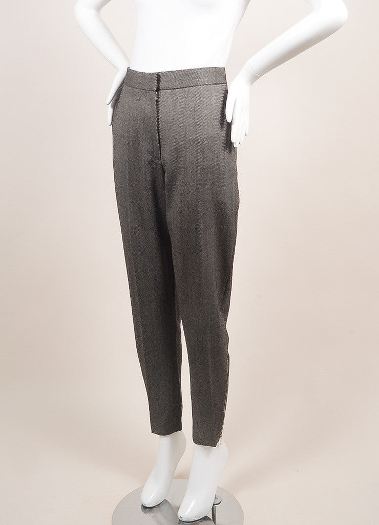 Stella McCartney New With Tags Black and White Wool Knit Zip Trousers Sideview