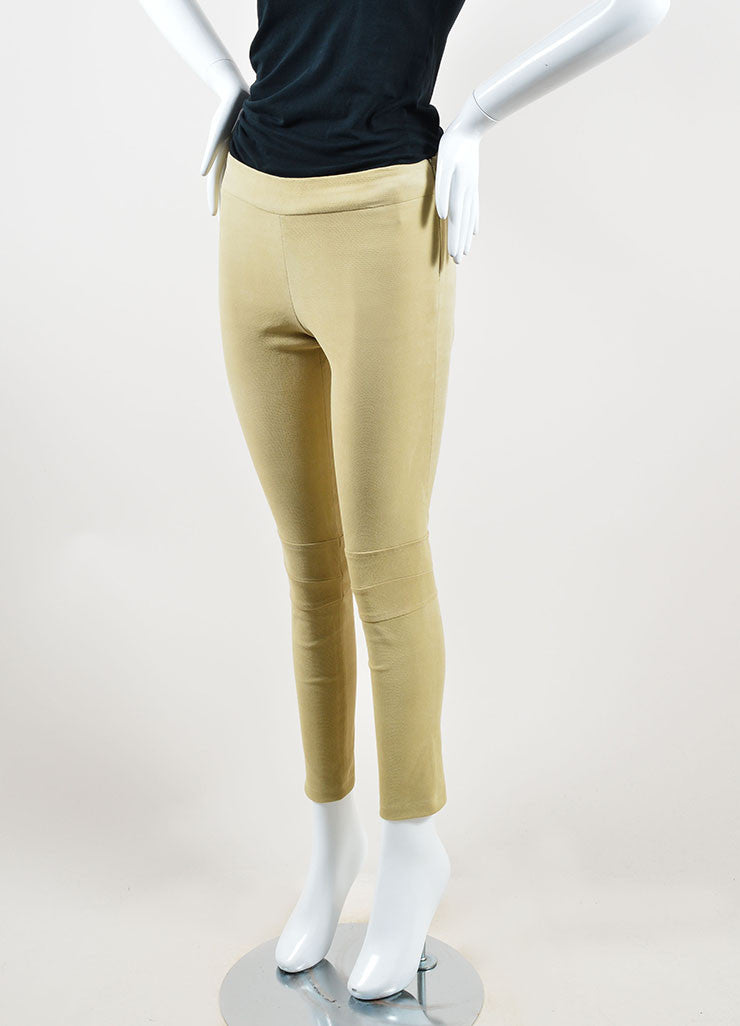 The Row Tan Lizard Embossed Suede Skinny Legging Pants Sideview