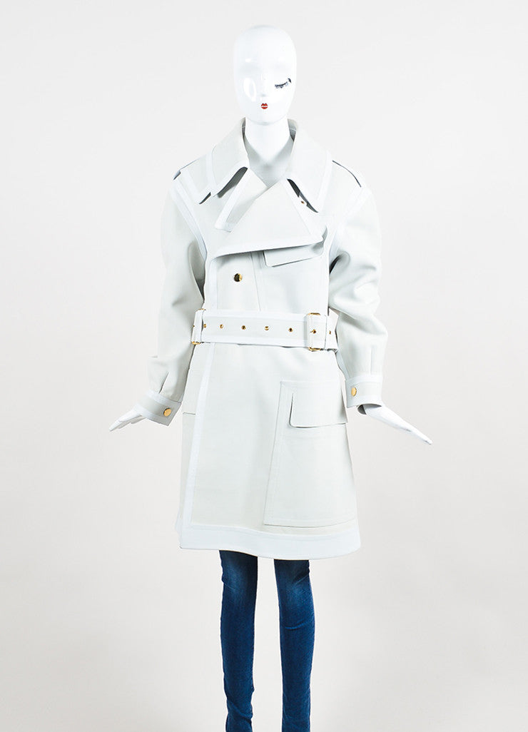 Off White and Grey Tom Ford Calf and Lamb Leather Long Belted Trench Coat Frontview