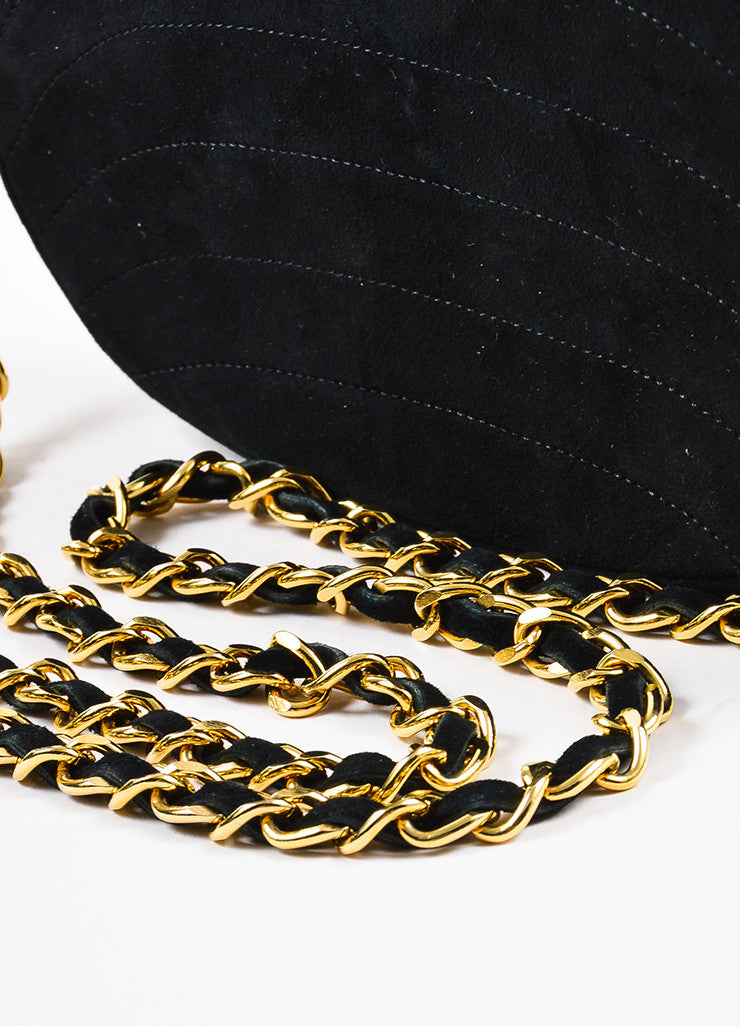 Chanel Black Suede Gold Toned Chain Strap Shoulder Bag Detail 2