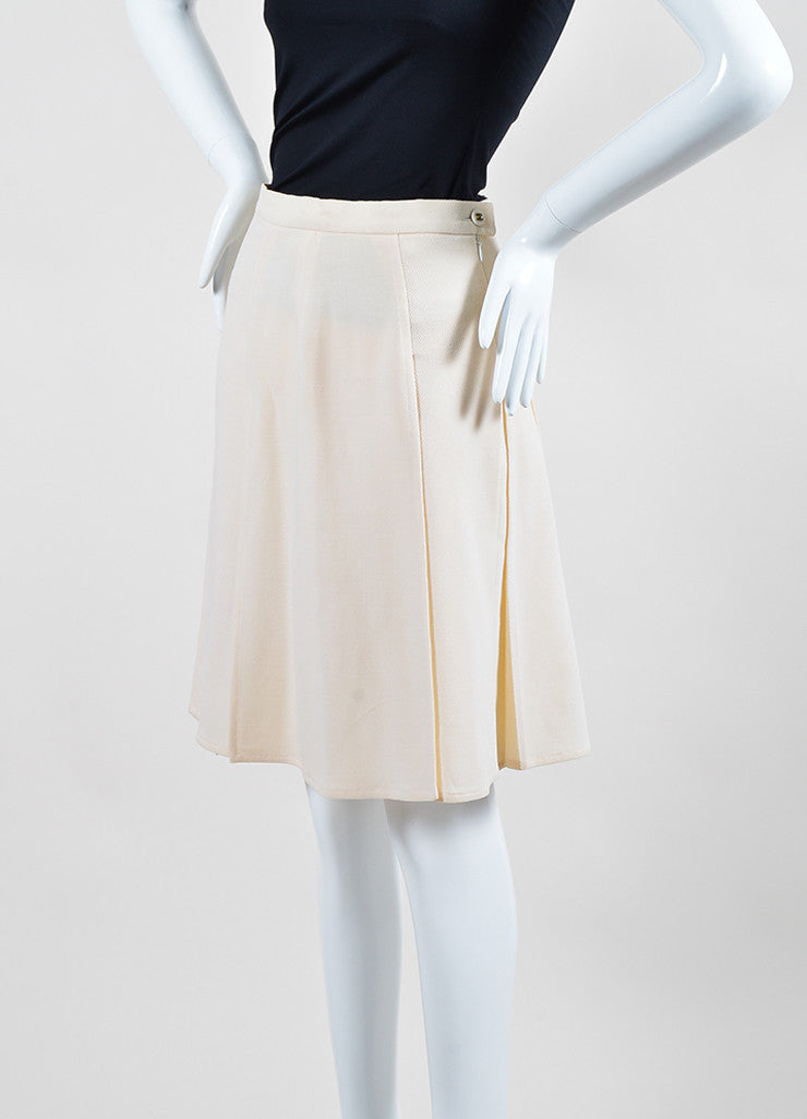 Cream Chanel Wool Flyaway Pleated Skirt Sideview