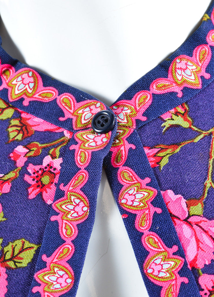 Lanvin Navy and Pink Rose Print Kimono Jacket Detail