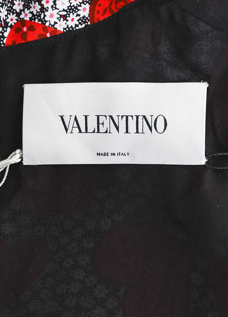 Red 	Valentino Silk Floral Heart Print Tie Long Sleeve Dress Brand