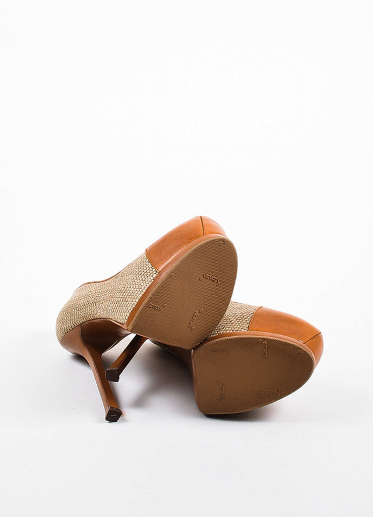 "Yves Saint Laurent ""Natural"" Tan Leather and Linen ""Tribtoo"" High Heel Pumps Outsoles"