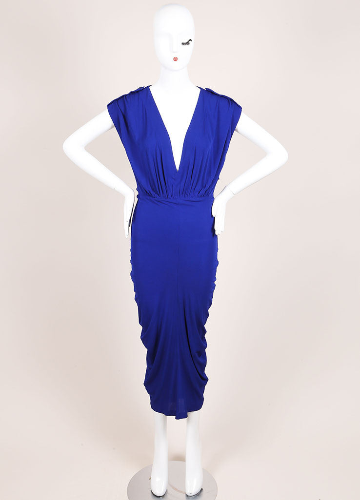 Alexander McQueen Royal Blue Ruched Sleeveless Dress Frontview