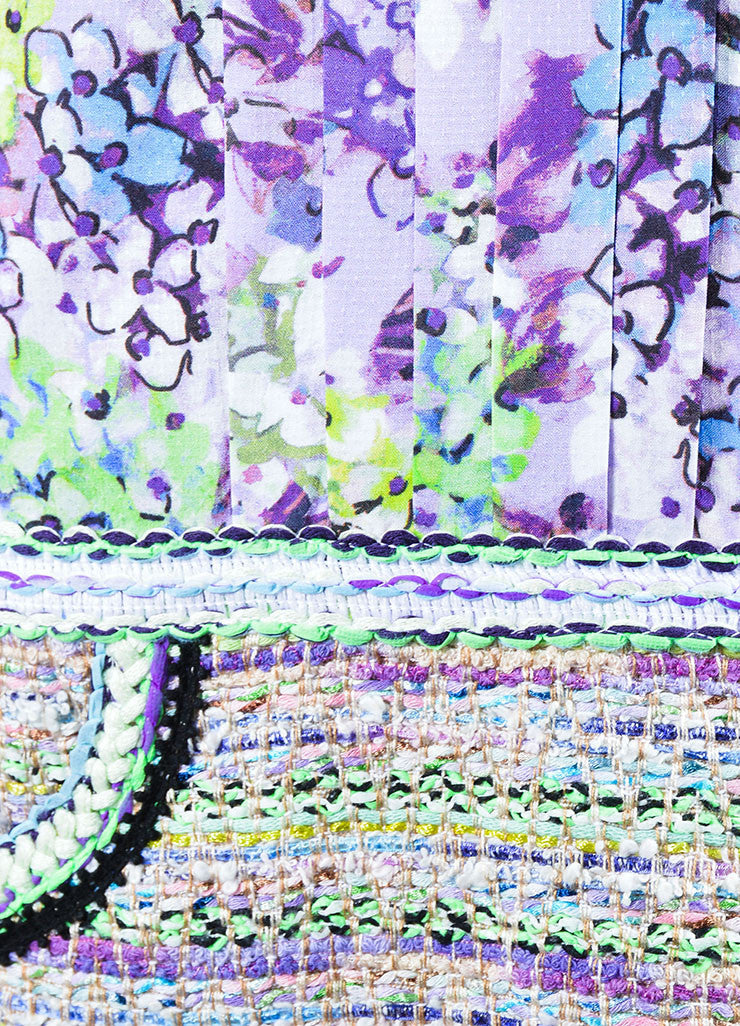 """Lilac"" Purple and Lime Green Andrew Gn Floral Print and Woven Dress Detail"