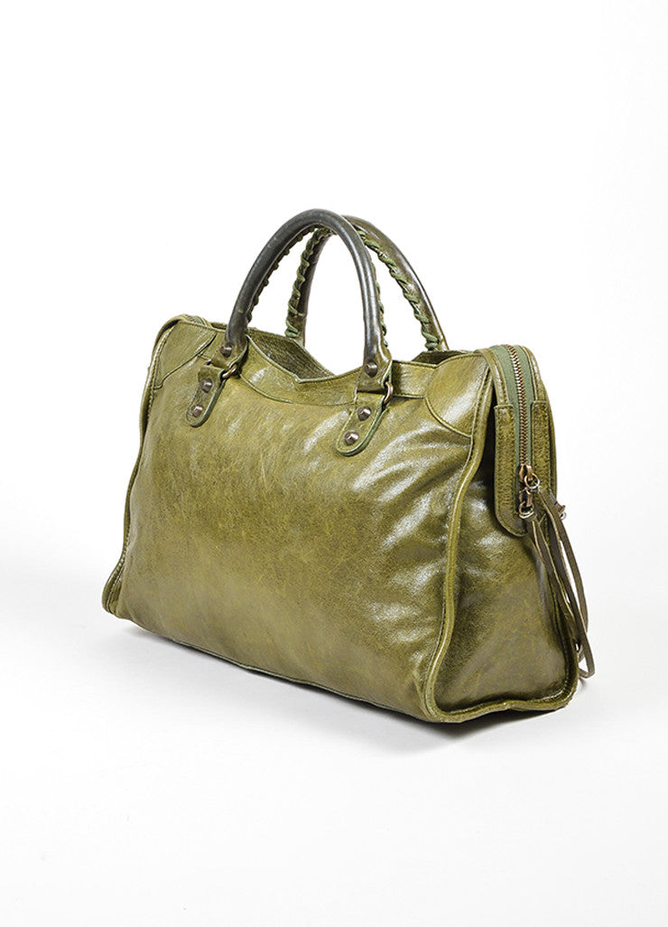 "Green Balenciaga ""Motocross Classic City"" Distressed Leather Satchel Bag Sideview"