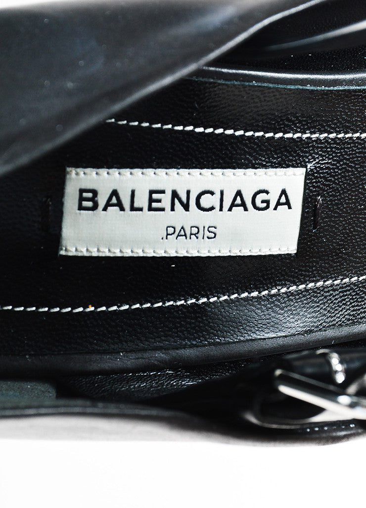 Balenciaga Black Leather Studded Wedge T-Strap Sandals Brand