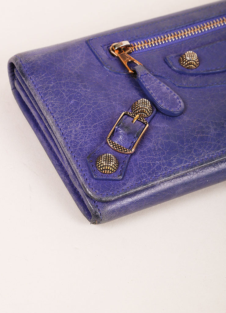 Balenciaga Purple Distressed Leather Studded Wallet Detail