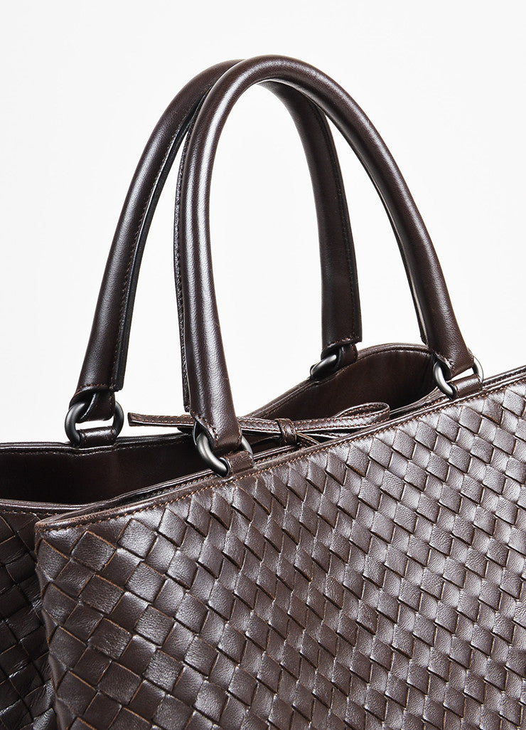 "Bottega Veneta Brown Intrecciato Leather ""Milano"" Tote Bag Detail 2"