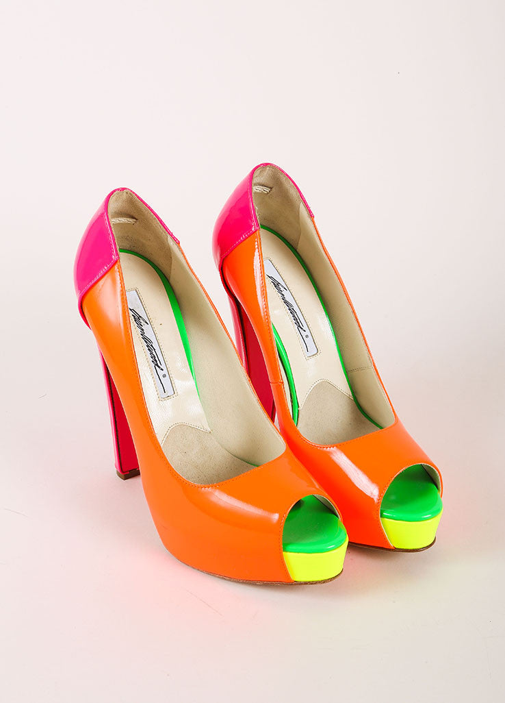 Brian Atwood Neon Patent Leather Color Block Peep Toe Platform Pumps Frontview
