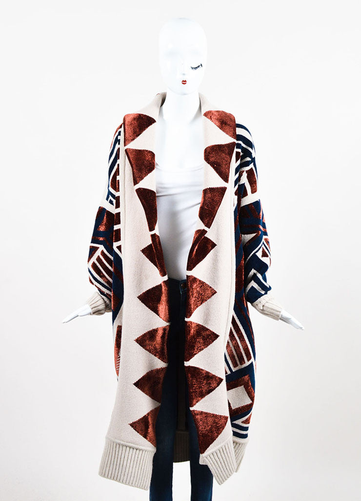 •ÈÀBurberry Prorsum Beige, Navy, and Red Wool Blend Geometric Print Sweater Coat  Frontview