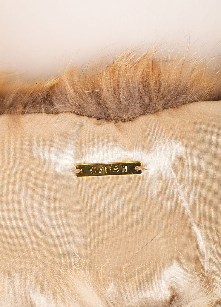 "C/FAN New With Tags Tan and Cream Natural Fox Fur ""Brett"" Clip On Collar Brand"