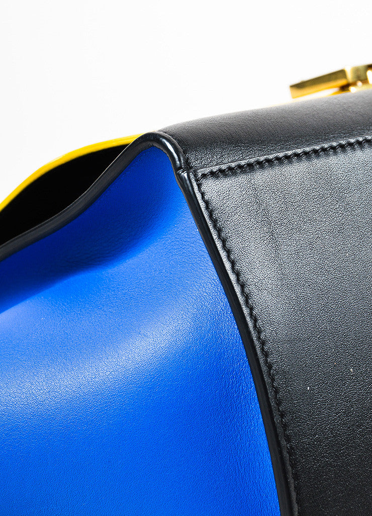 Celine Sunflower Yellow Black Blue Calfskin Leather Small Trapeze Bag Detail 2