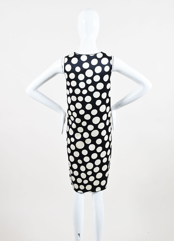 Celine Black and Cream Silk and Wool Blend Polka Dot Print Sleeveless Shift Dress Backview