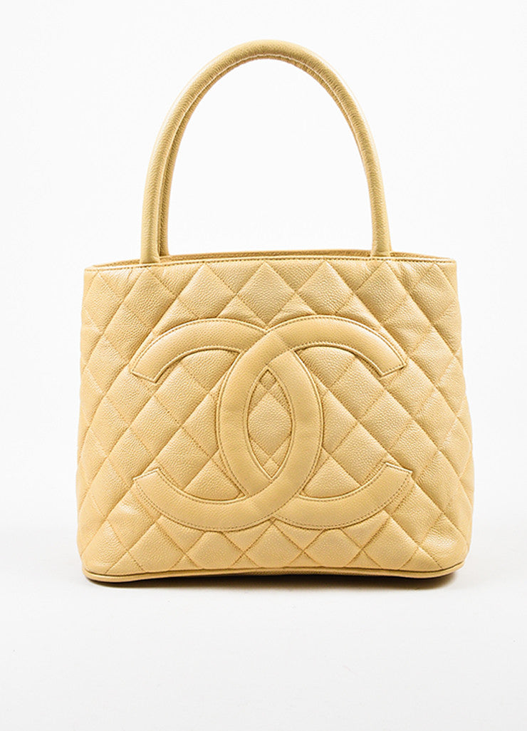 "Chanel Beige Caviar Leather 'CC' ""Medallion"" Tote Handbag Frontview"