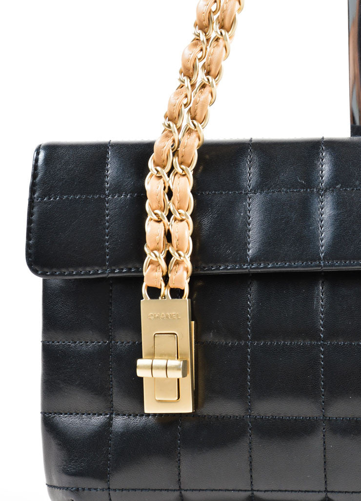 Chanel Black Chain Strap Quilted Leather Mademoiselle Lock Flap Bag Detail 2