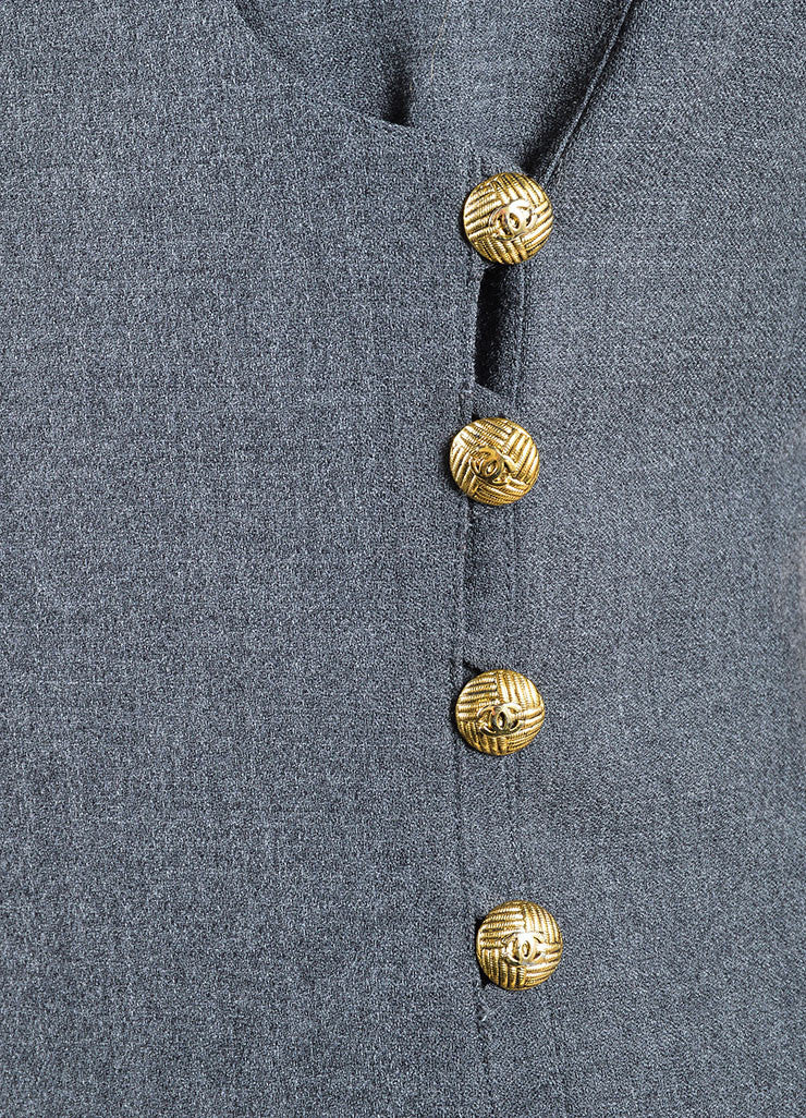 "Chanel Grey and Gold Toned Wool ""CC"" Button Wrap Knee Length Jacket Detail"