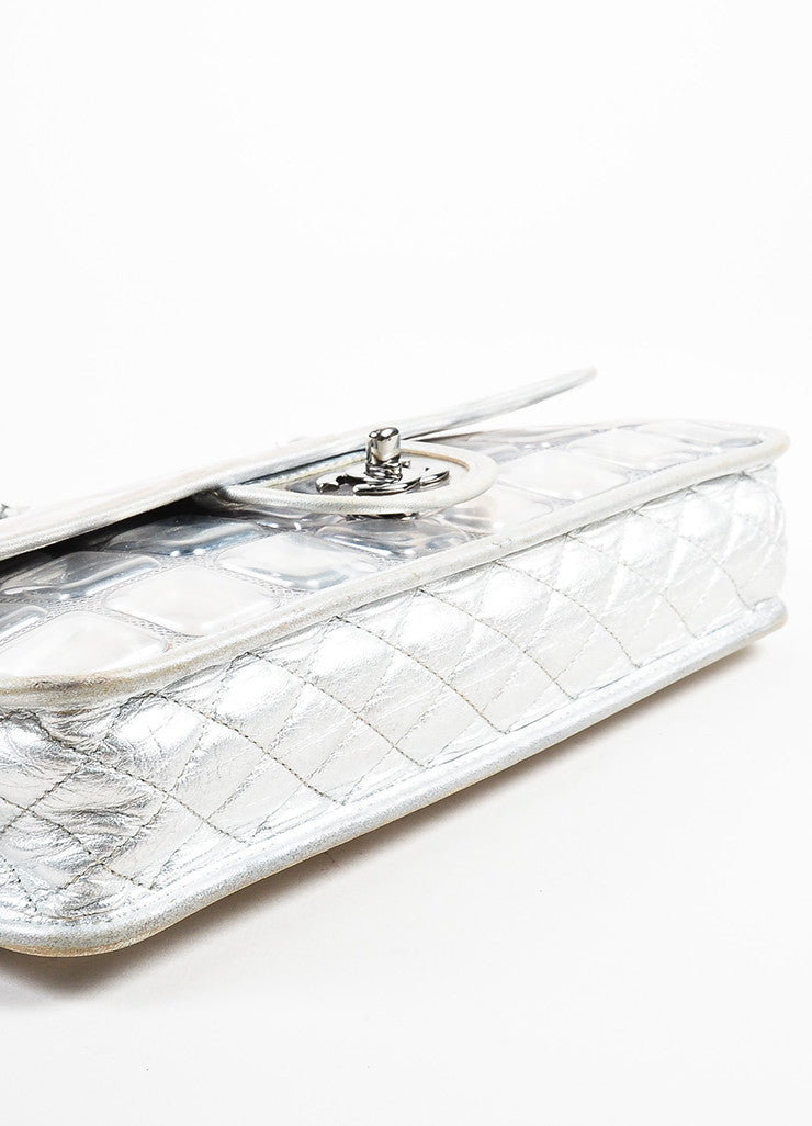 "Chanel Silver Metallic Leather Coated ""Ice Cube"" Classic Flap Shoulder Bag Bottom View"