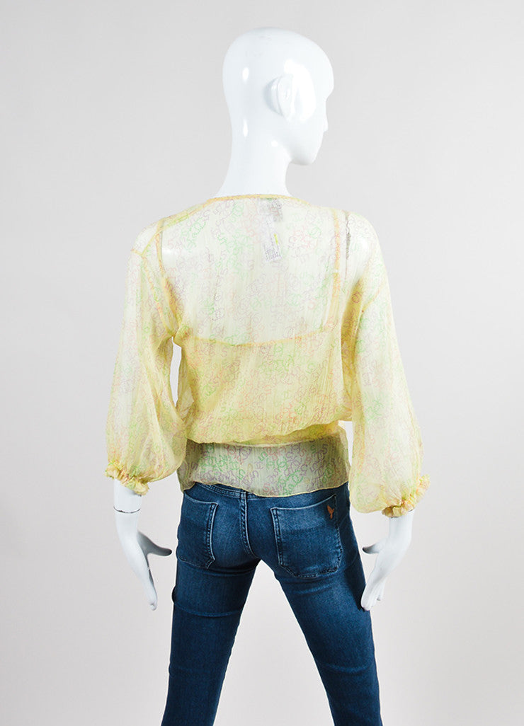 Yellow and Multicolor Chanel Silk Chiffon 'CC' Logo Print Sheer Tie Blouse Set Backview