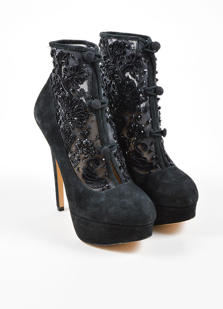 "Charlotte Olympia Black Suede Mesh ""Colombina"" Ankle Booties Frontview"