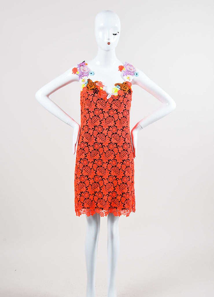 Neon Pink and Black Lace Christopher Kane Floral Applique Sleeveless Dress Frontview