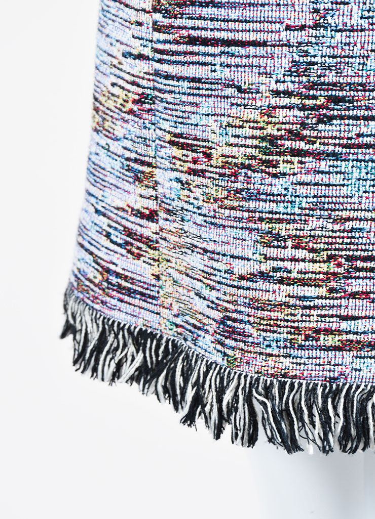 Multicolor Christian Dior Woven Tweed Fringe Sleeveless Dress Detail