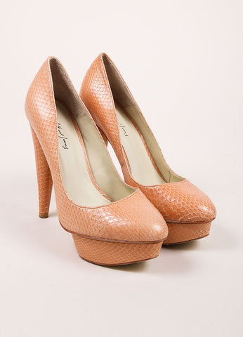 "Elizabeth and James ""Blush"" Pink Snake Embossed Leather ""Mason"" Pumps Frontview"
