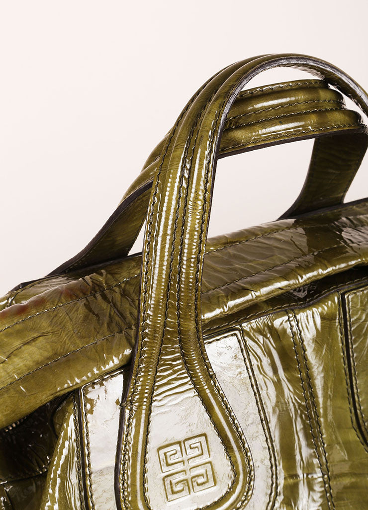 "Givenchy Green Crinkle Patent Leather Large ""Nightingale"" Tote Bag Detail 2"