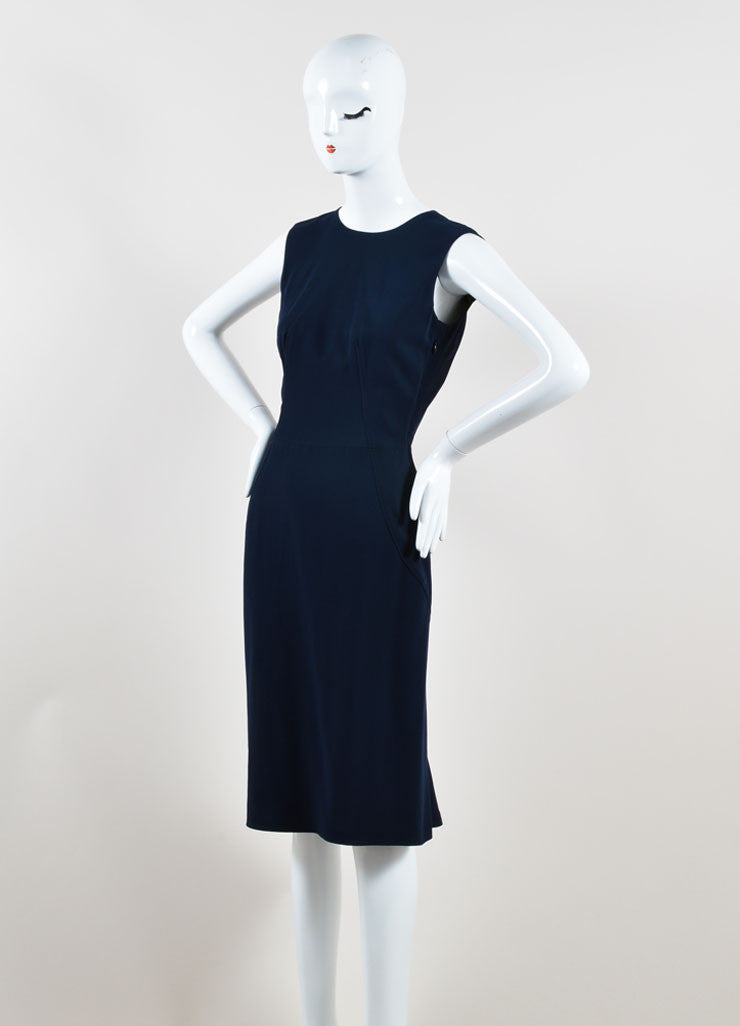 Givenchy Navy Blue Sleeveless Ruffle Hem Shift Dress Sideview