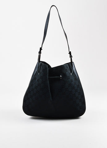 Black Gucci Canvas Leather Monogram Print Structured Hobo Bag Front