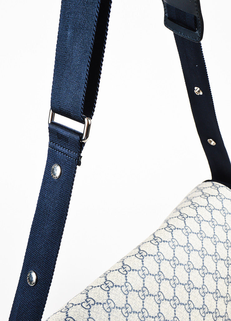 Cream and Navy Gucci Coated Canvas 'GG' Printed Messenger Diaper Bag Detail 2