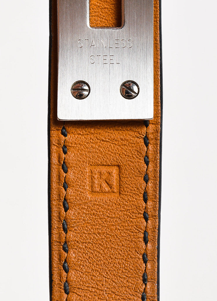 "Hermes Black Alligator Leather Quartz and Stainless Steel Padlock ""Kelly"" Watch Stamp"
