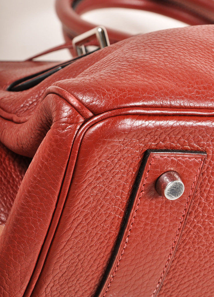 "Hermes Red ""Rouge H"" and Silver Toned Clemence Leather 42cm Shoulder Birkin Bag Detail"