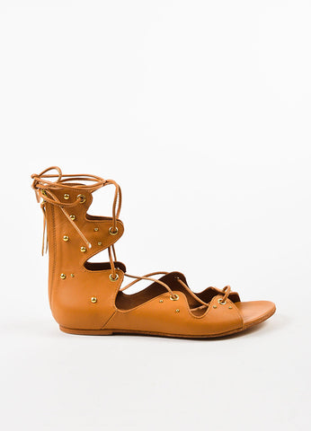 "IRO Camel Leather Studded Laced Up ""Xiri"" Flat Gladiator Sandals Sideview"
