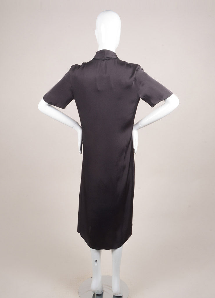 Lanvin New With Tags Dark Grey Silk Blend Short Sleeve Draped Dress Backview
